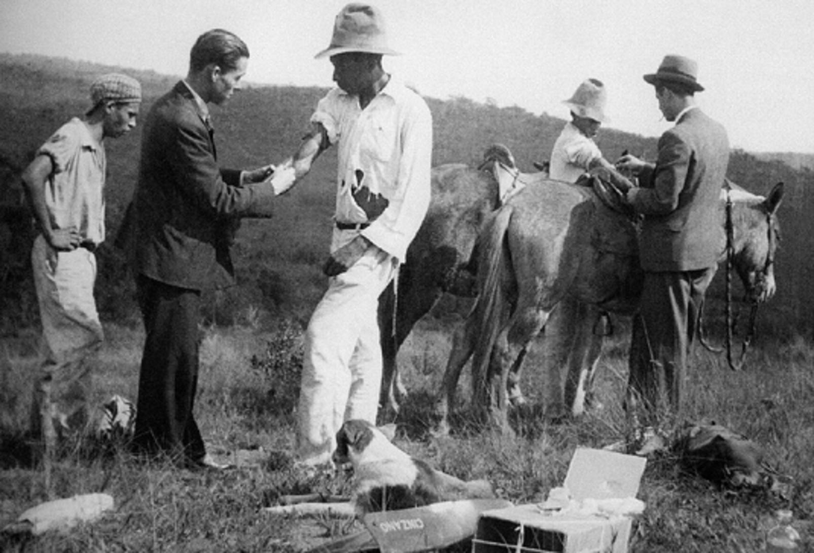 Profissionais de saúde vacinam trabalhadores do campo contra a febre amarela no início dos anos 30. A foto foi capa de um livro lançado em 2002 pela Fiocruz sobre a saga do combate à doença no Brasil desde 1937