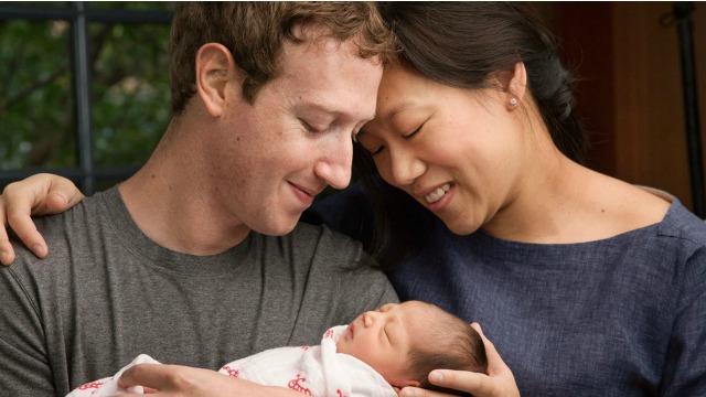 Zuckerberg e Chan, com a filha recém-nascida, Max