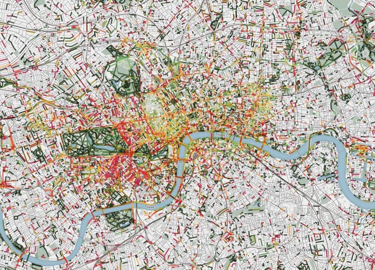 Mapa mostra os lugares de Londres que têm cheiro (o laranja são os mais fracos e os vermelhos os pontos de cheiro mais forte) e flora (linhas verdes são aromas de flores, árvores e plantas).