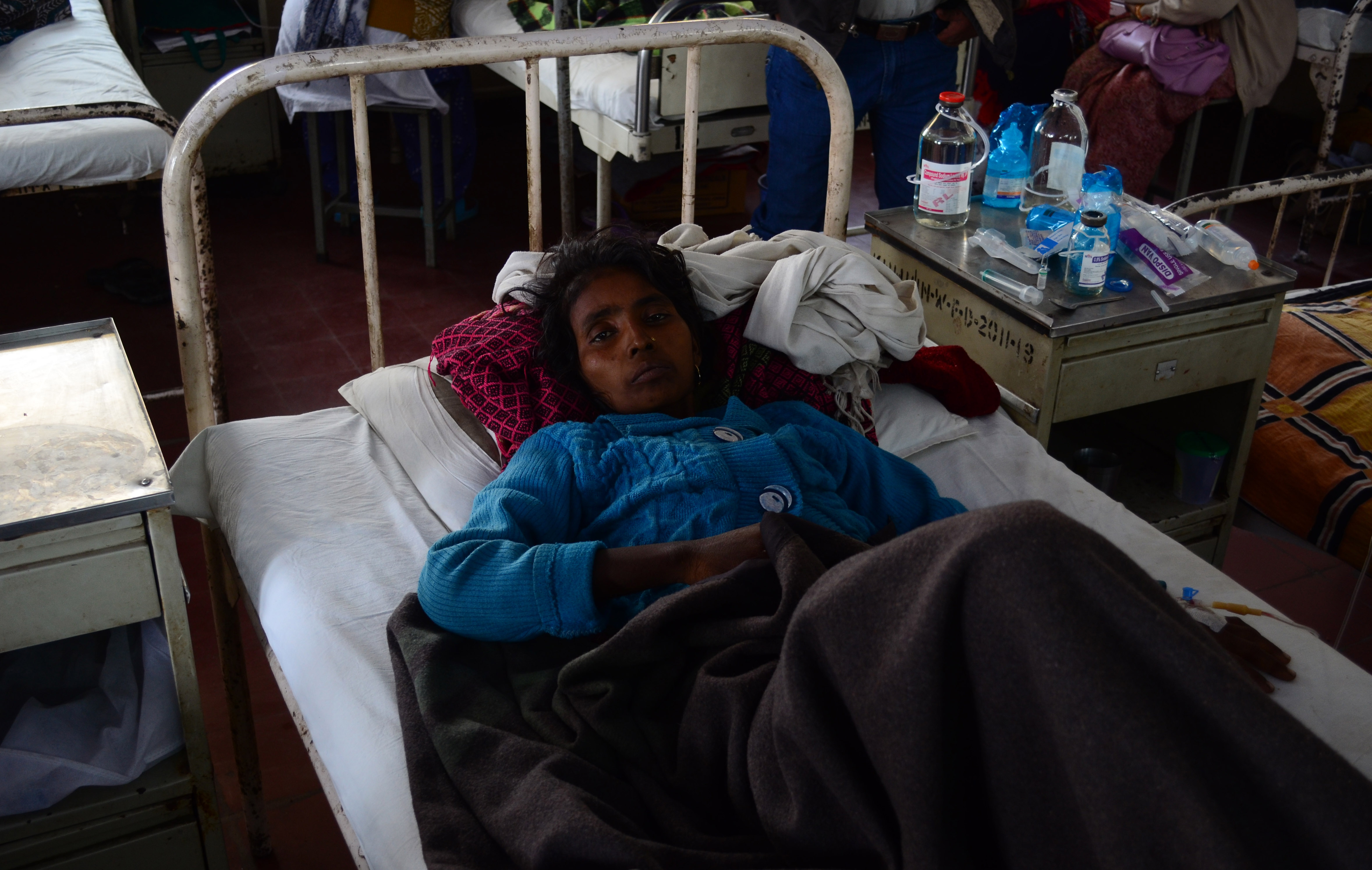 Uma paciente com câncer no ovário Hospital Kamla Nehru Hospital, em foto do Dia Internacional do Câncer: tratamento deficiente