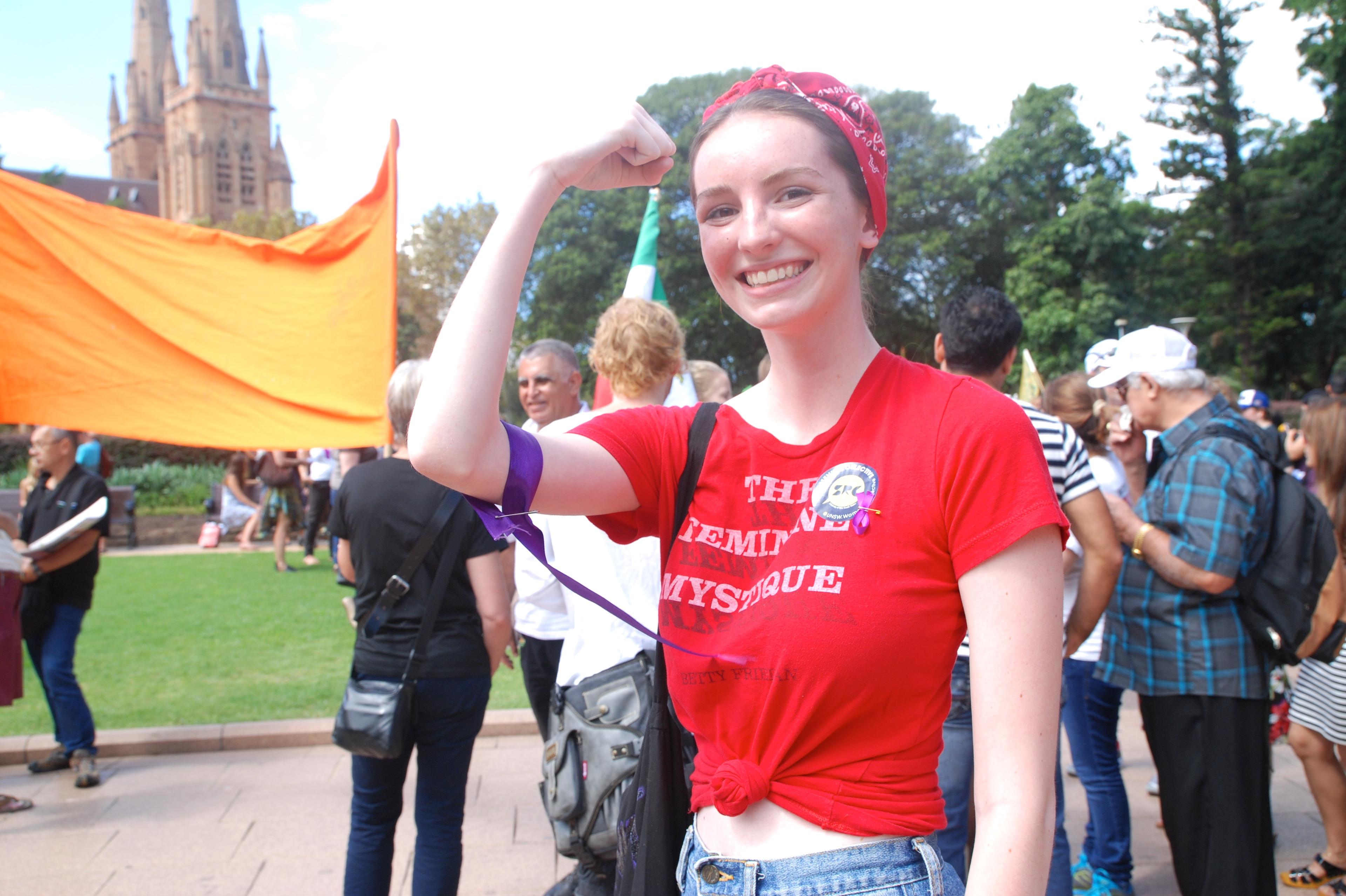 Passeata no Dia Internacional da Mulher, na Austrália, em 2015