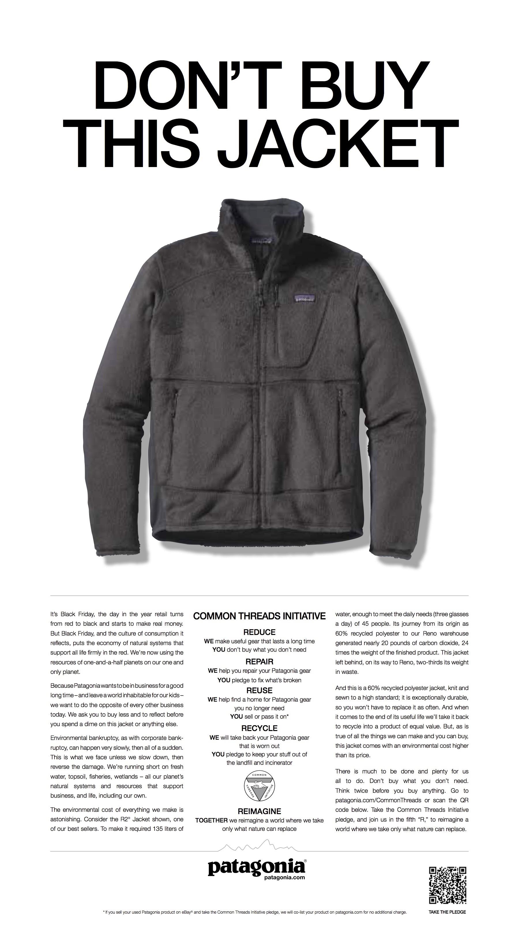 """Campanha da marca de roupas """"Patagonia"""", publicada em diversos jornais, prega o consumo consciente"""