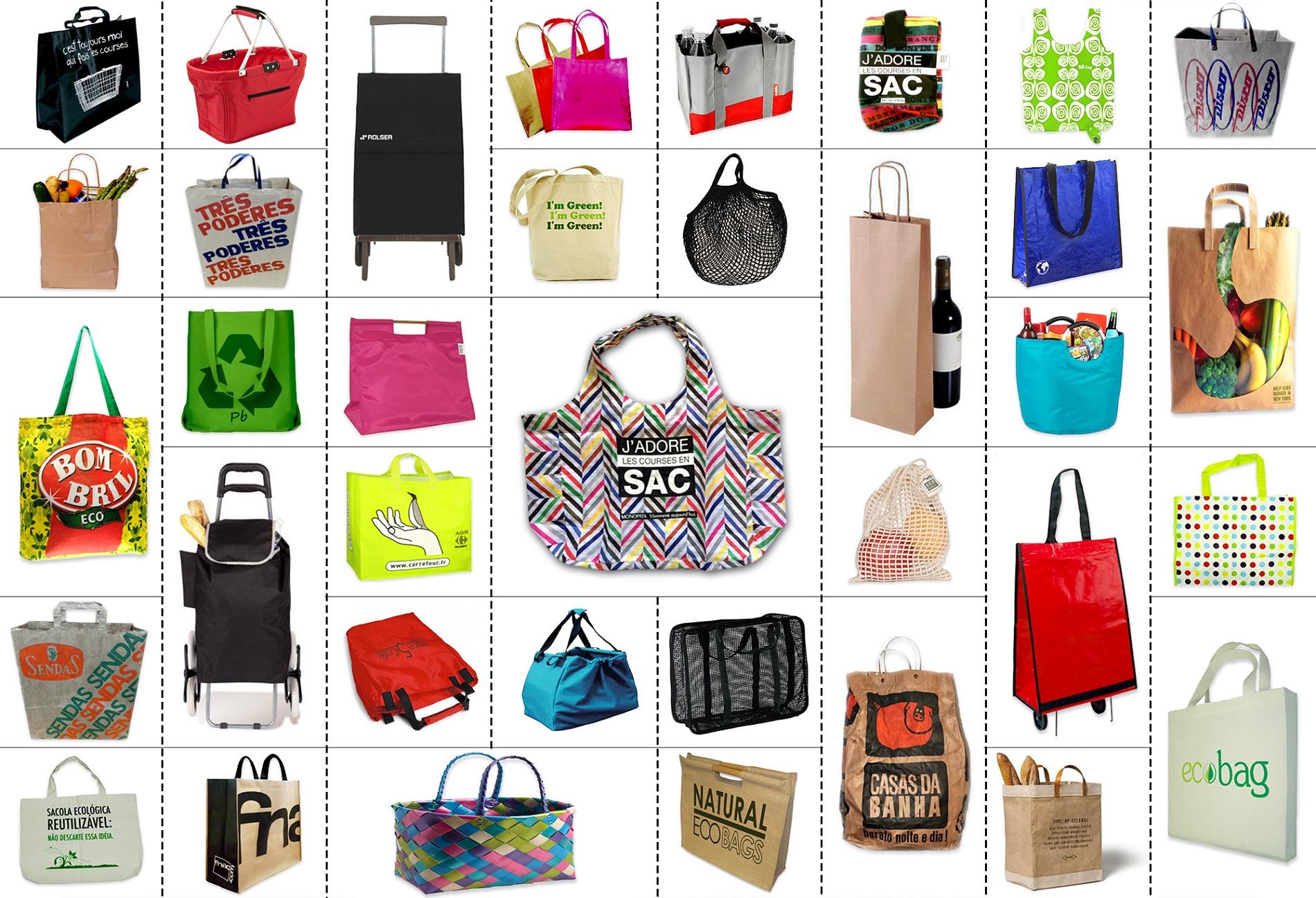 Sacolas de tecido, cestas de vime, estilosos carrinhos de feira e sacolas dobráveis que cabem na bolsa voltaram a ser moda na França