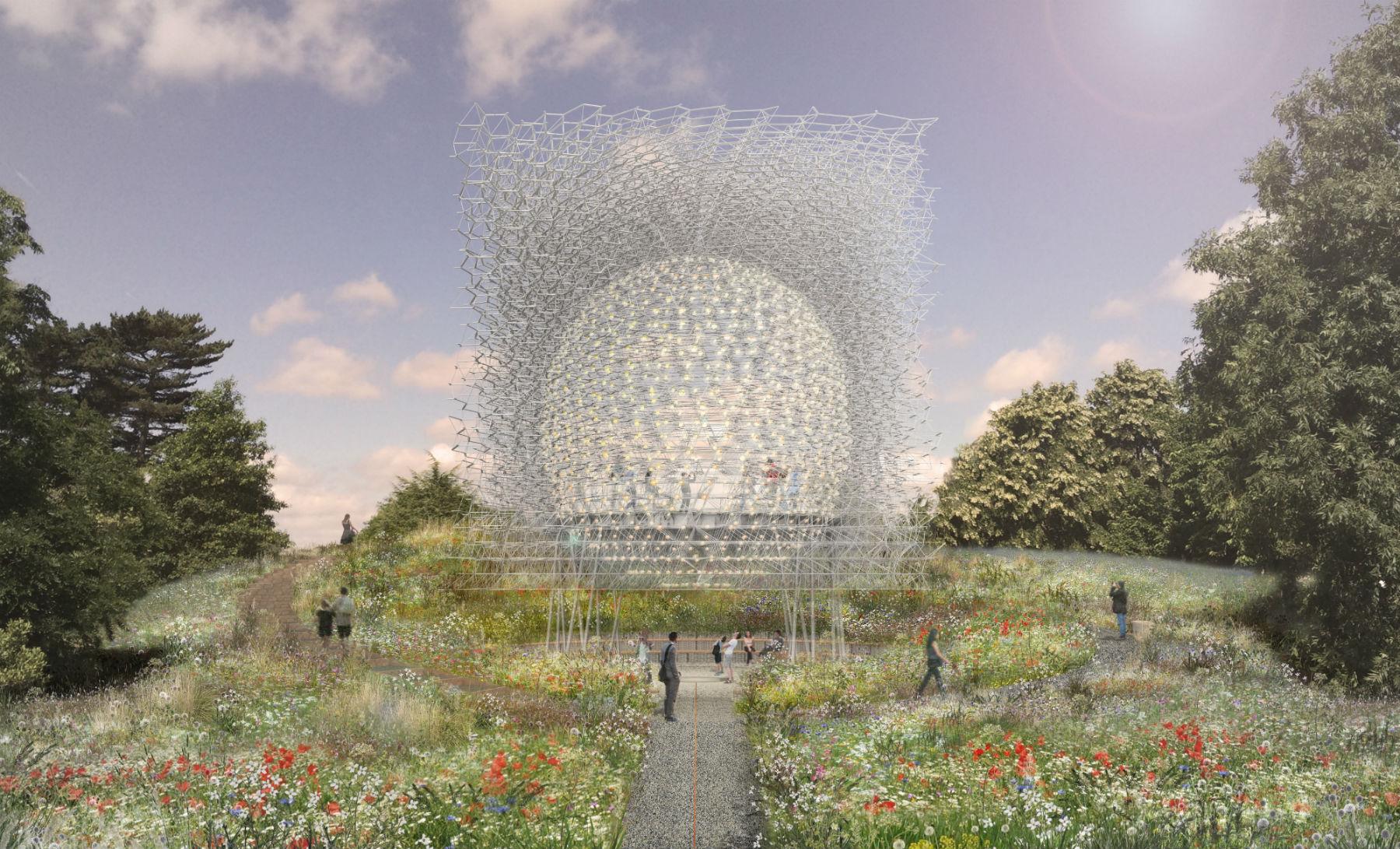 Simulação de como será a instalação The Hive no Kew Gardens em Londres