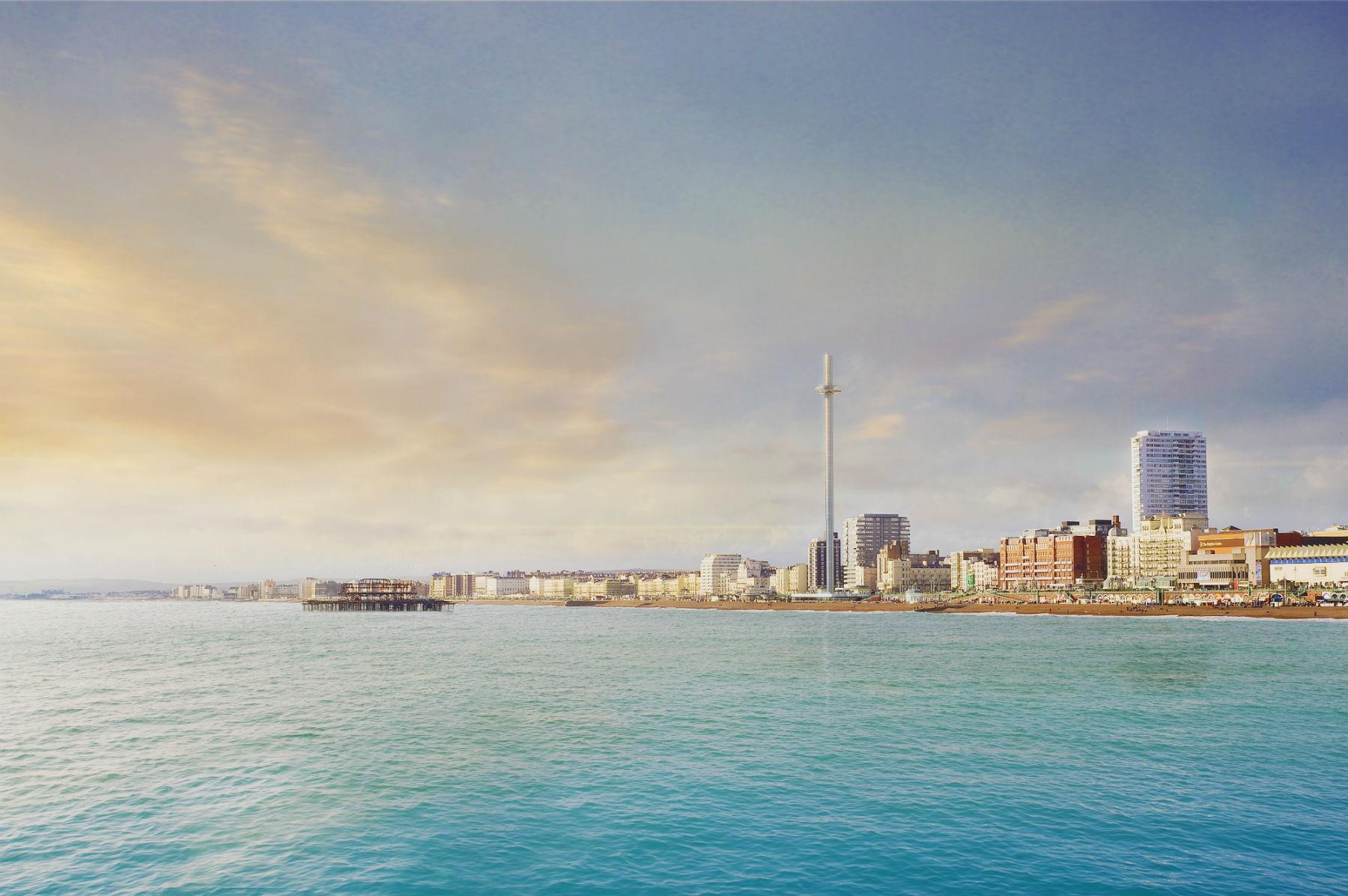 Vista de Brighton com a i360: praia mais procurada do Reino Unido