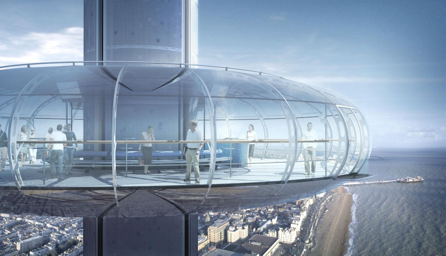 Com ares futuristas, o mirante da torre alcança até 42 km de distância