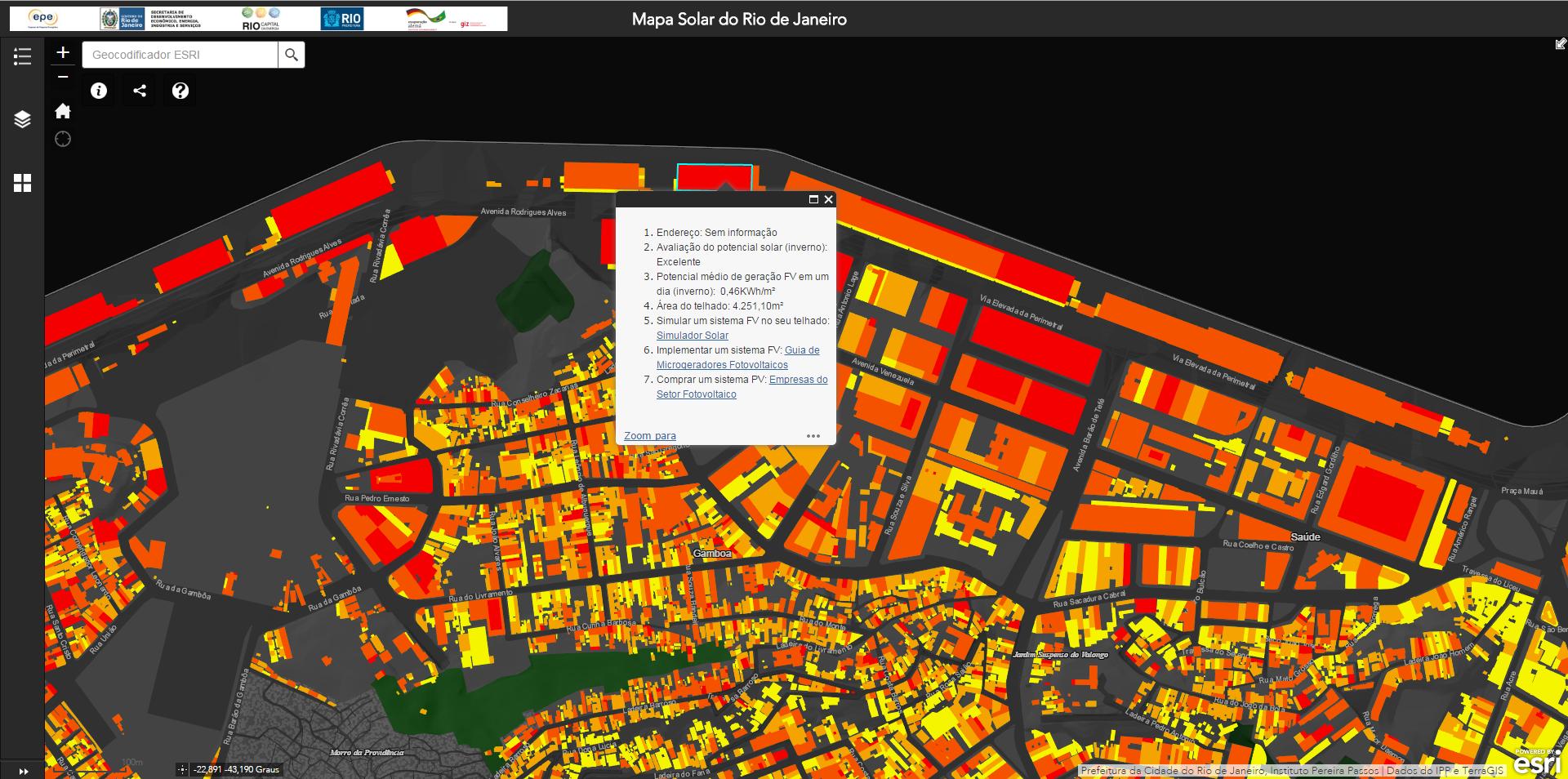 Mapa solar da região do porto. Do amarelo, potencial considerável, ao vermelho, que representa um índice excelente. Foto de Divulgação
