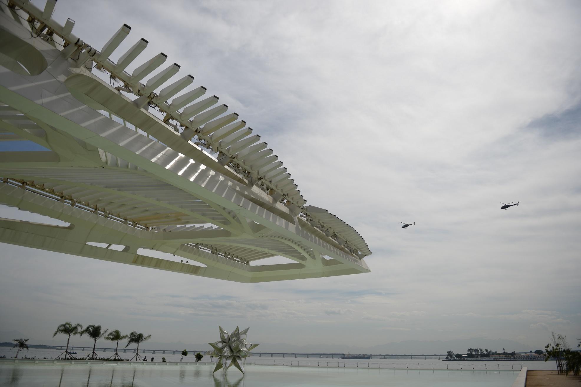 A área do porto do Rio, onde está o Museu do Amanhã, tem um dos melhores índices de incidência de sol da cidade. Foto de Vanderlei Almeida/AFP