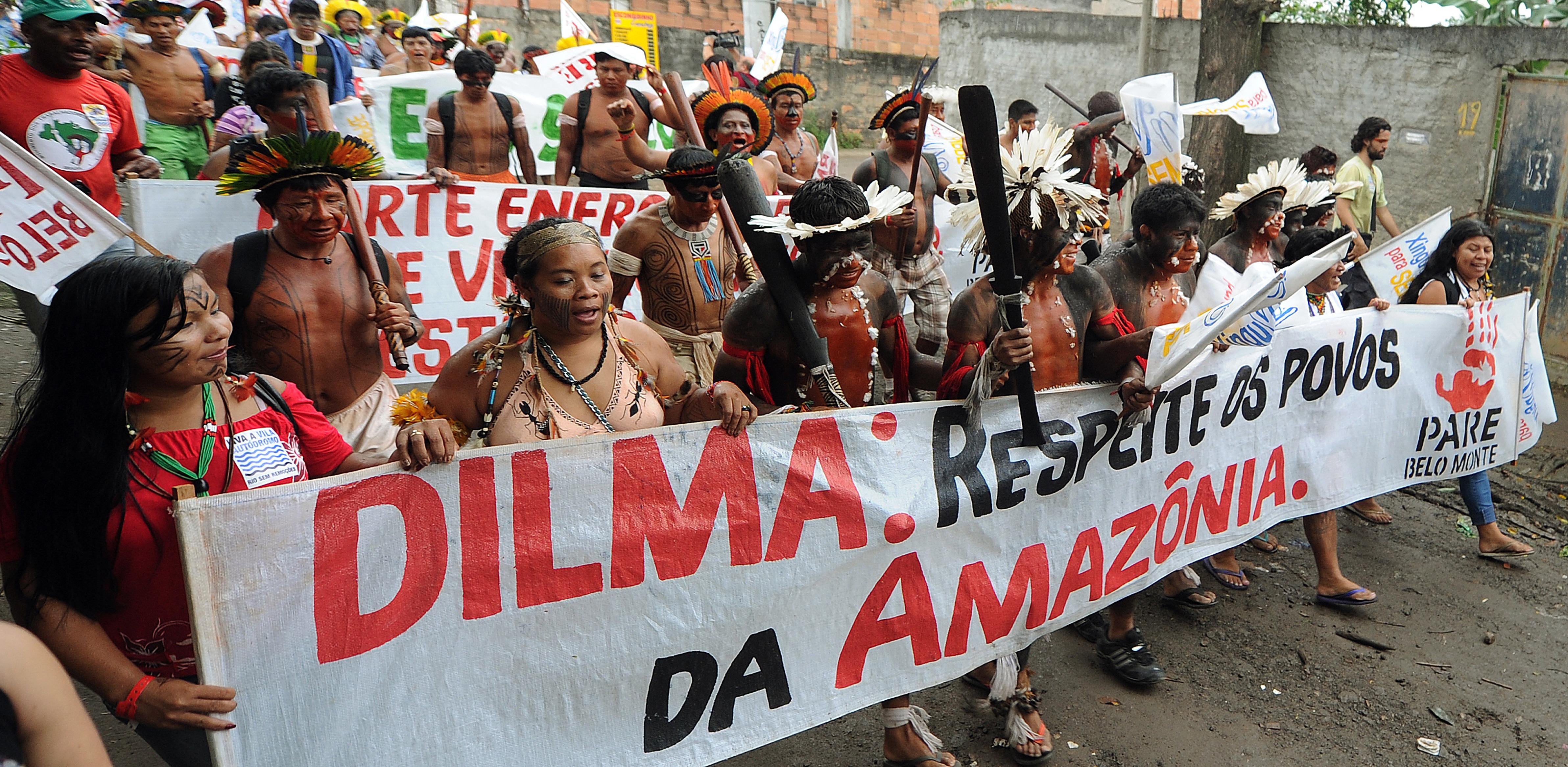 Manifestação de indígenas contra Belo Monte