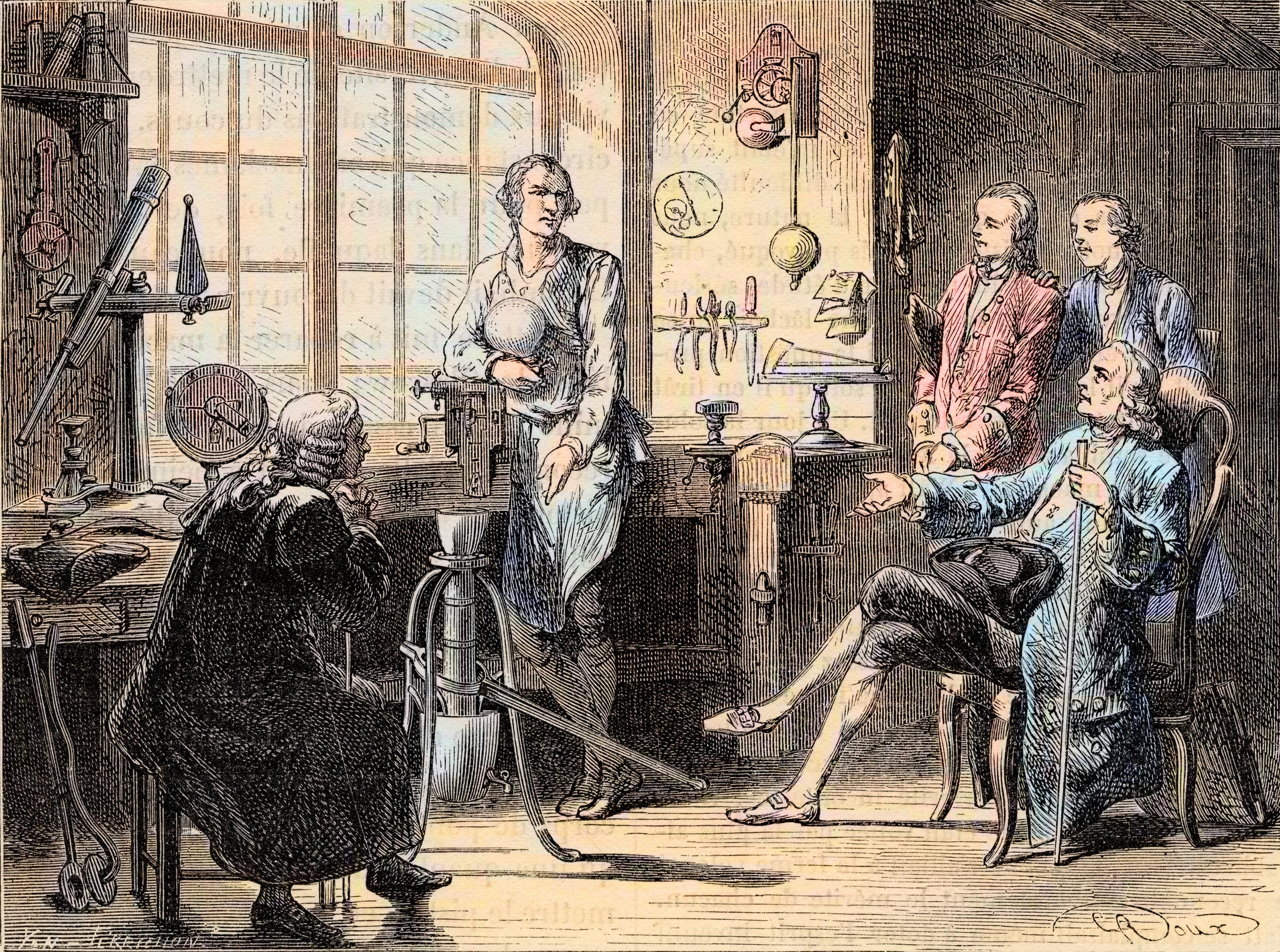 """Joseph Black visiting James Watt in his Glasgow workshop - Le chimiste ecossais Joseph Black rend visite a l'ingenieur James Watt (1736-1819) dans son laboratoire de l'Universite de Glasgow vers 1760. Gravure tiree de """"Les merveilles de la science"""" de Louis Figuier. ©Bianchetti/Leemage"""