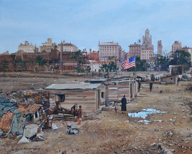 O quadro do pintor americano George H. Rothacker mostra uma favela (hooverville) em pleno Central Park
