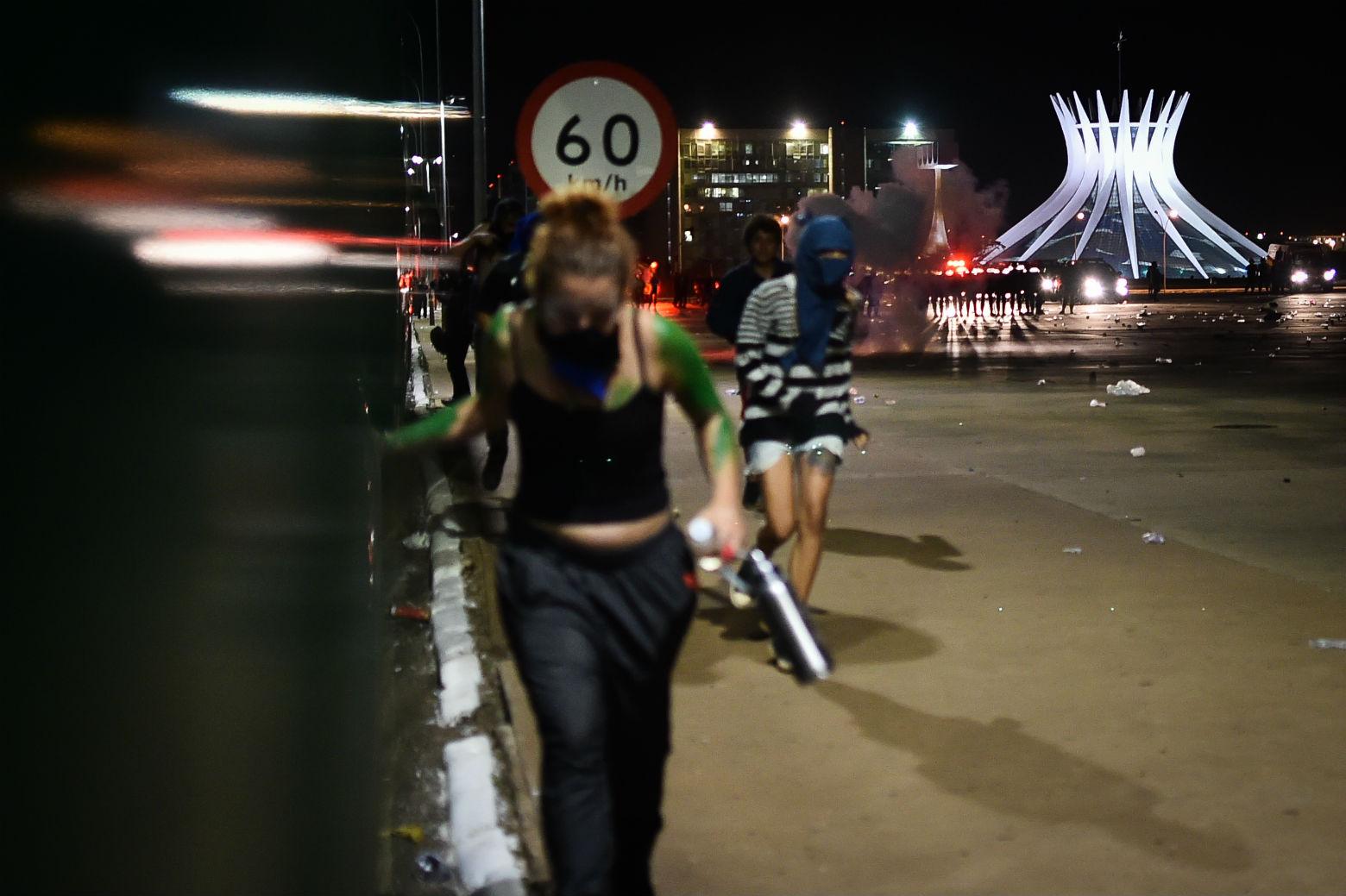 Protesto contra a PEC na Esplanada dos Ministerios. Foto de Andre Sousa/ Agif/ AFP