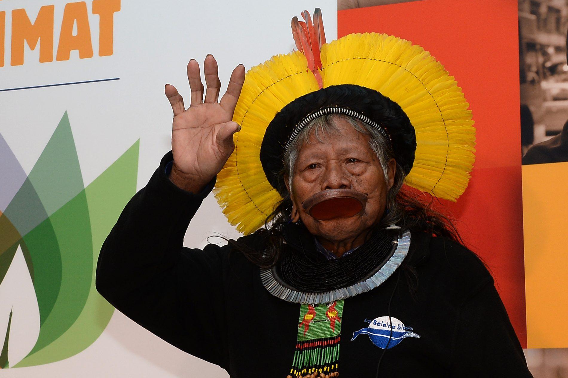 Raoni na COP-21. Foto de Miguel Medina/ AFP