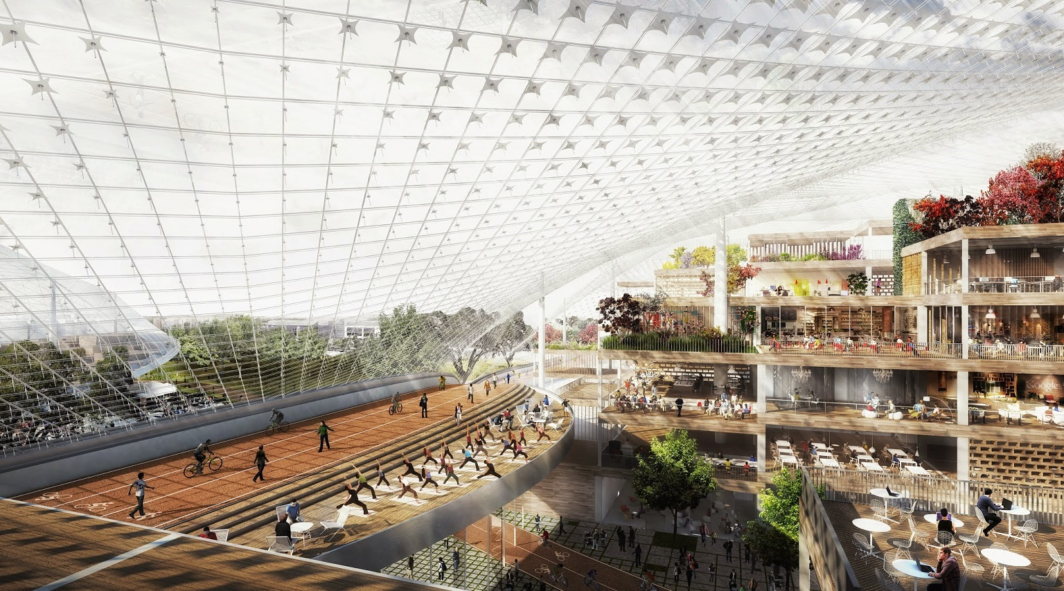 Focado em espaços abertos e verdes, novo campus do Google sugere ser um lugar onde famílias podem viver e trabalhar. Foto divulgação