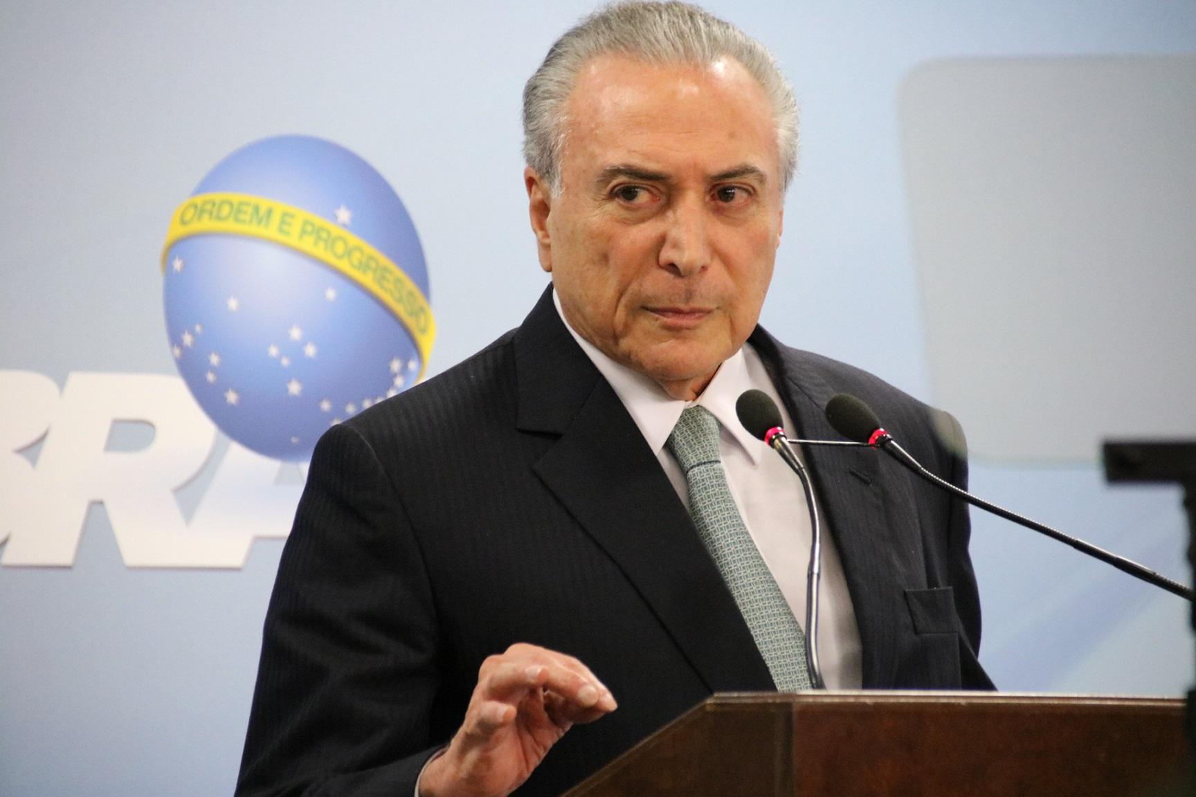 Temer: em pronunciamento no Palácio do Planalto, o presidente disse ao povo que fica. Foto: Citizen Staff