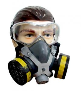 Máscara semi-facial com dois respiradores, indicada para manifestantes/ Reprodução Mercado Livre