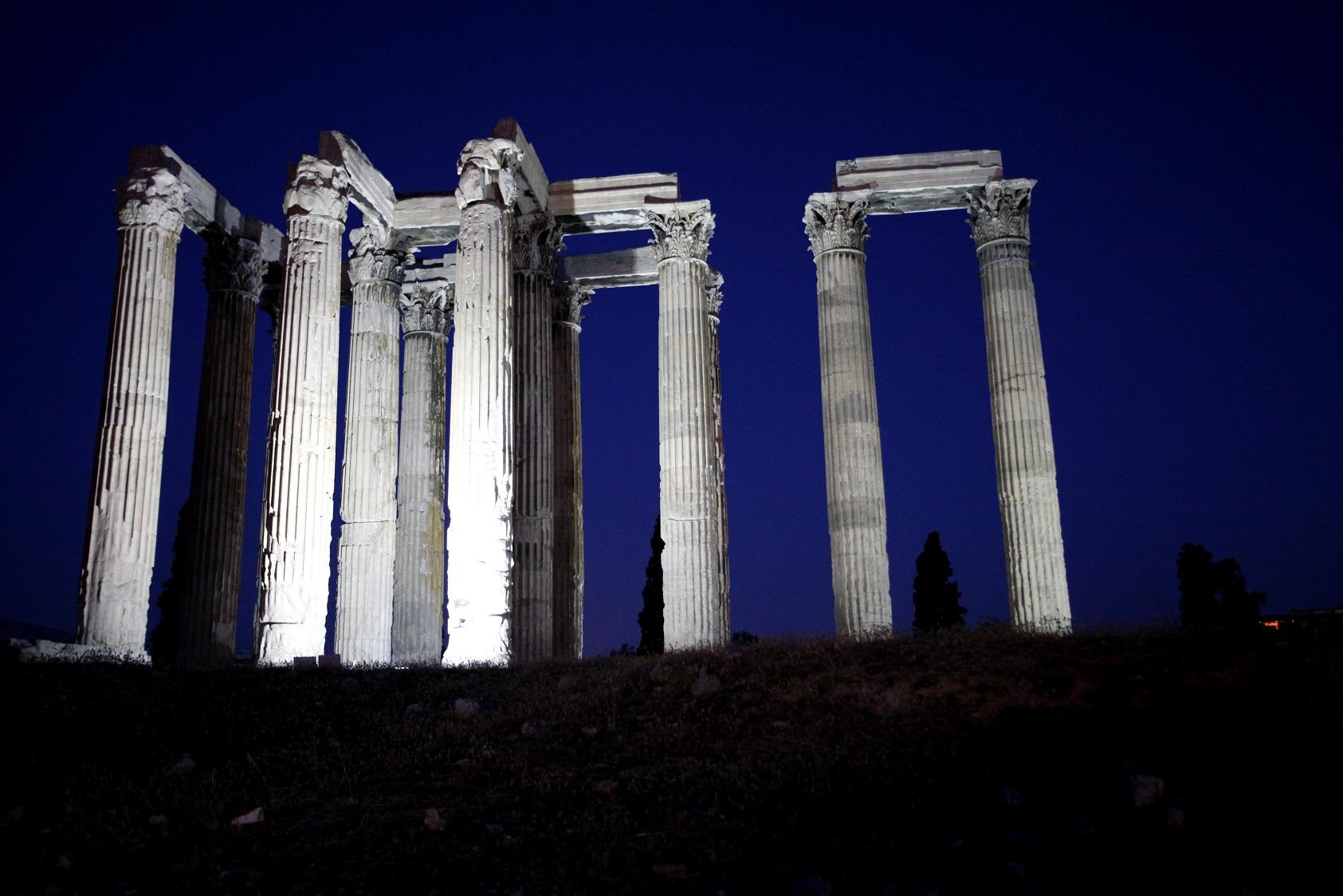 O templo de Zeus, em Atenas. Foto Giorgos Georgiou/NurPhoto