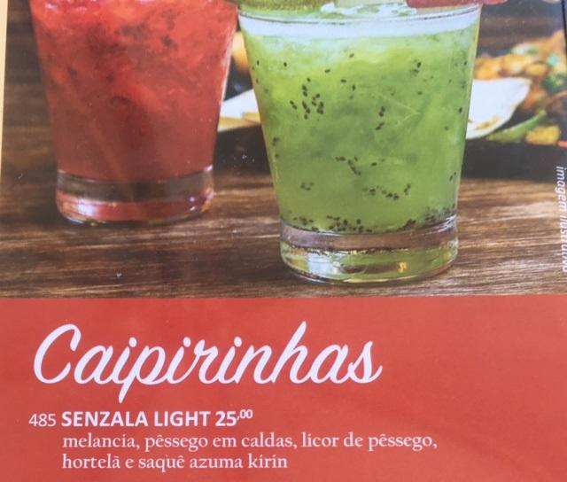 A caipirinha Senzala, light ou normal, servida em vários sabores. Foto Adriana Barsotti
