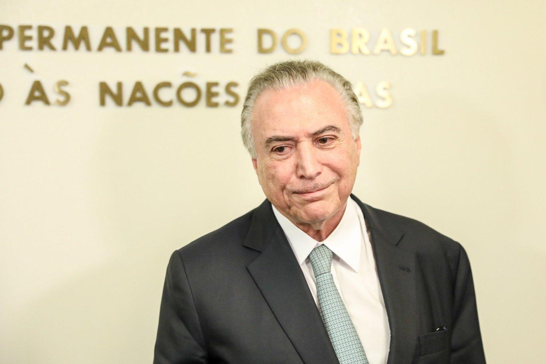 Michel Temer durante a entrevista para os jornalistas após o discurso na ONU. Foto Vanessa Carvalho/Brazil Photo Press