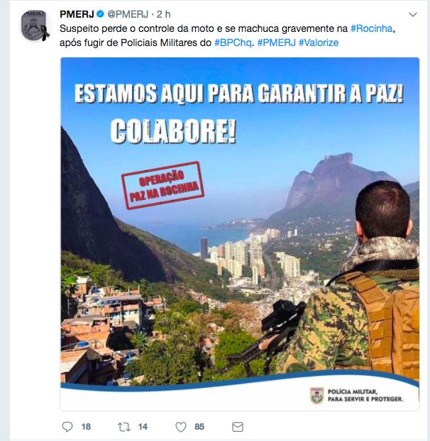 A mensagem deixada no Twitter da PM após a morte do mototaxista na Rocinha. Reprodução do Twitter