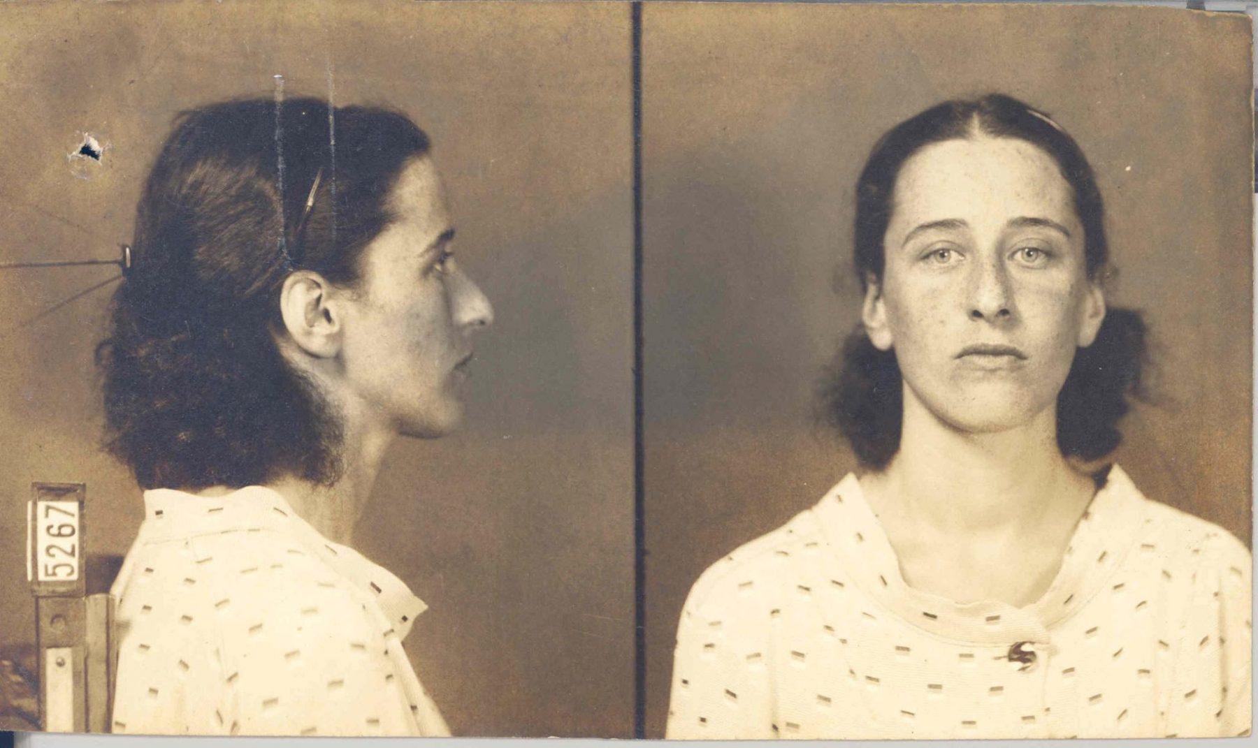 Olga Benário. Foto tirada após a prisão em março de 1936.