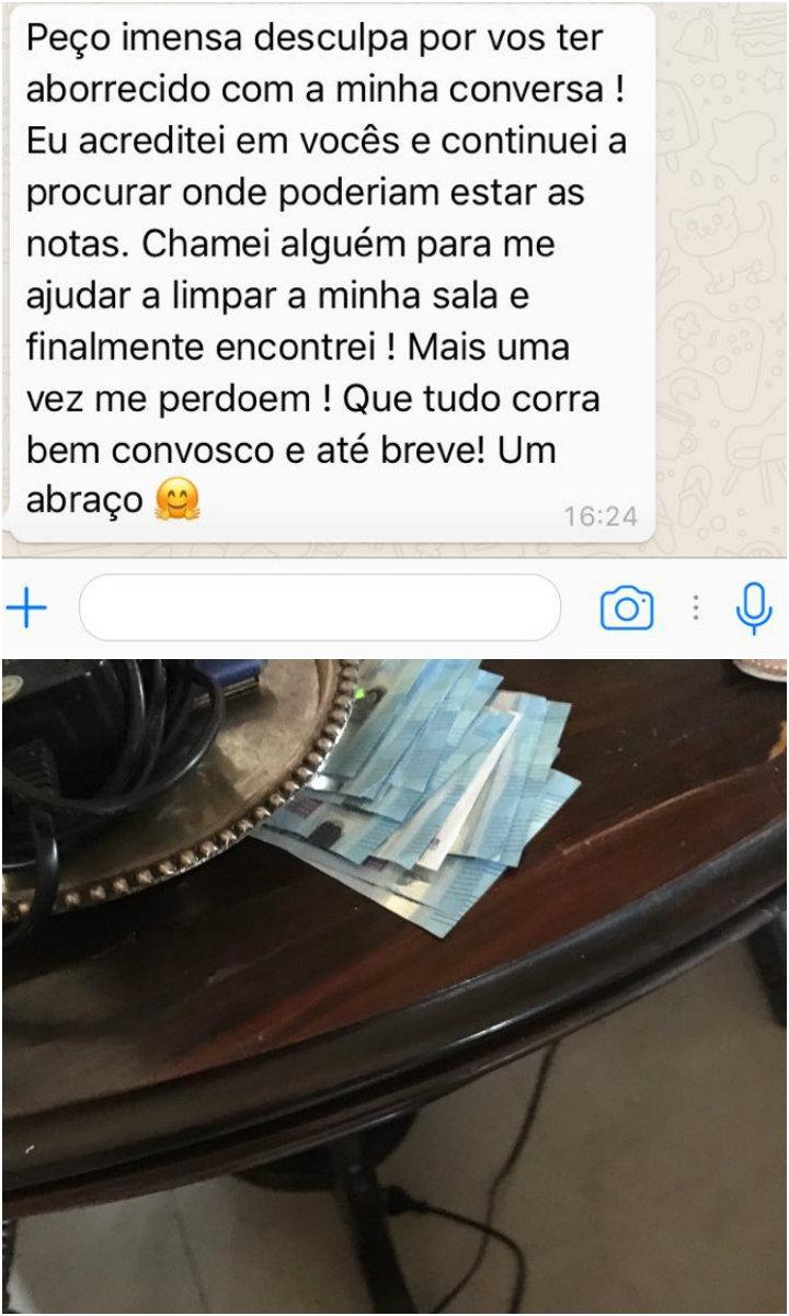 Mensagem de desculpas da proprietária após acusar brasileiros de roubo (Reprodução)