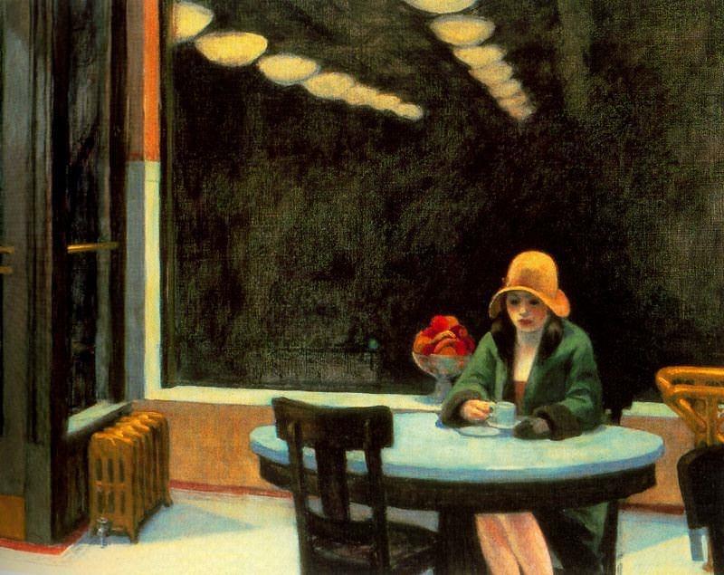 Automat, um dos mais famosos quadros do pintor Edward Hopper. Foto Reprodução