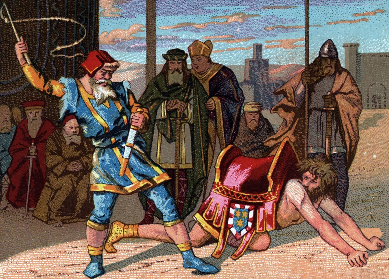 Pintura de um senhor feudal humilhando um dos seus servos. Collection privee/Isadora/Leemage