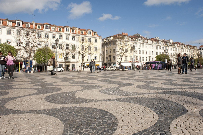 A praça Dom Pedro IV, no Rossio, em Lisboa. Foto Lorenzo De Simone/AGF