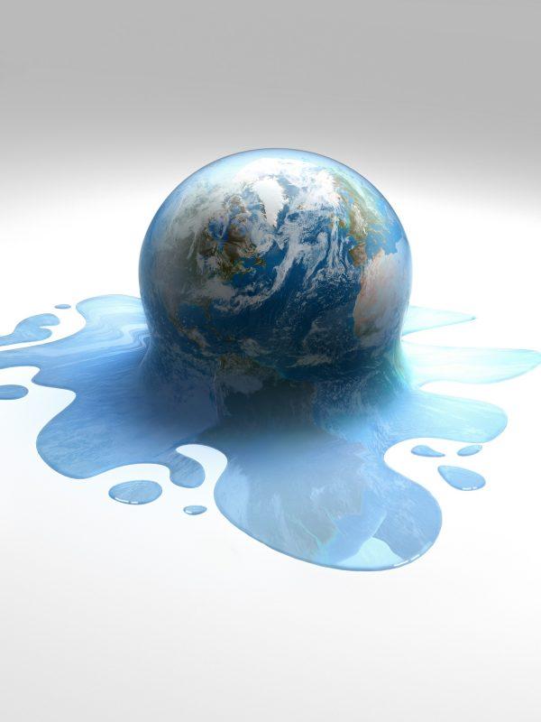 Ilustração da Terra derretendo como uma bola de sorvete. MARK GARLICK / SCIENCE PHOTO LIBRA / MGA / Science Photo Library