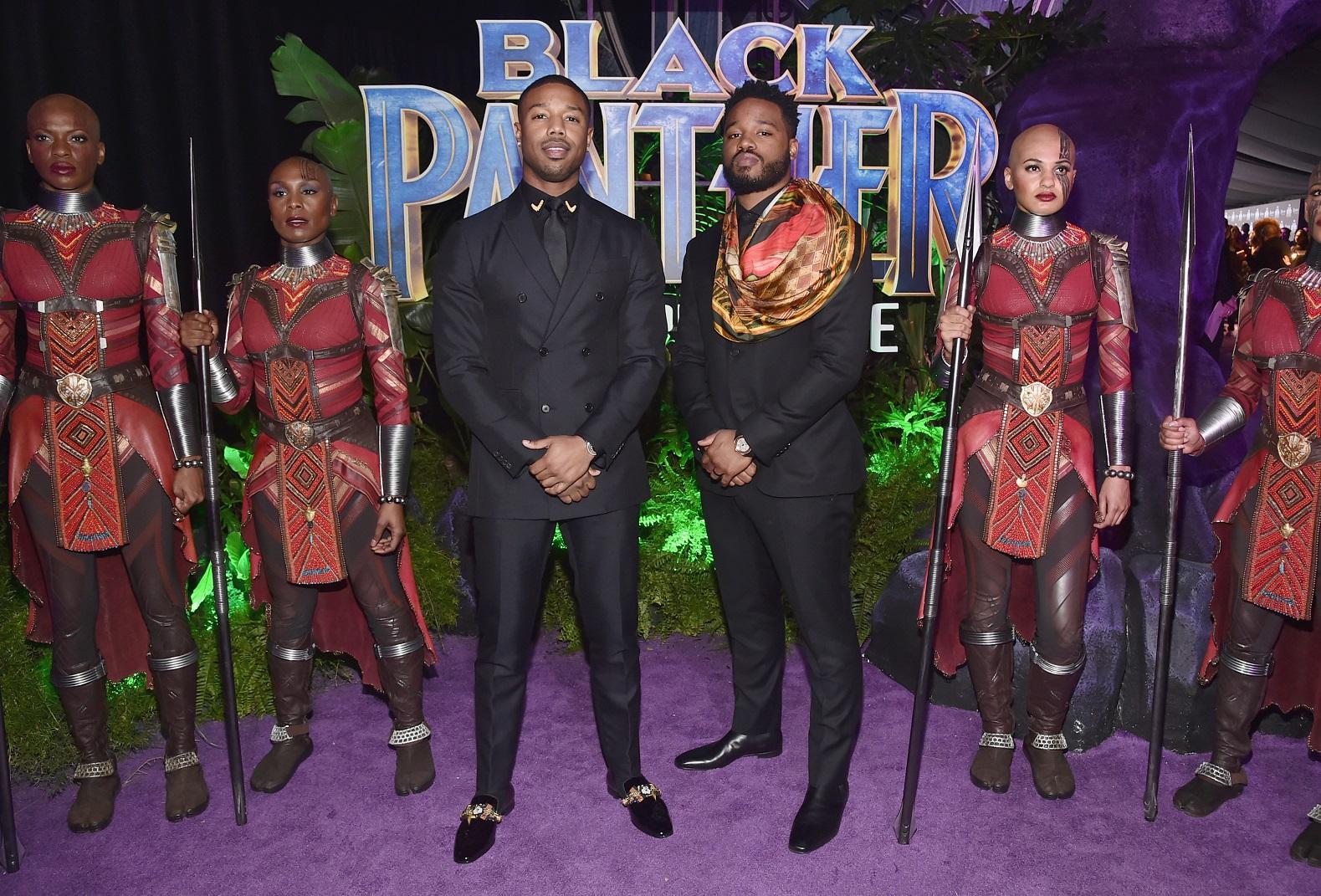 O ator Michael B. Jordan (esquerda) e o diretor Ryan Coogler no lançamento do Pantera Negra em Los Angeles. Foto Alberto Rodriguez/Getty Images/AFP