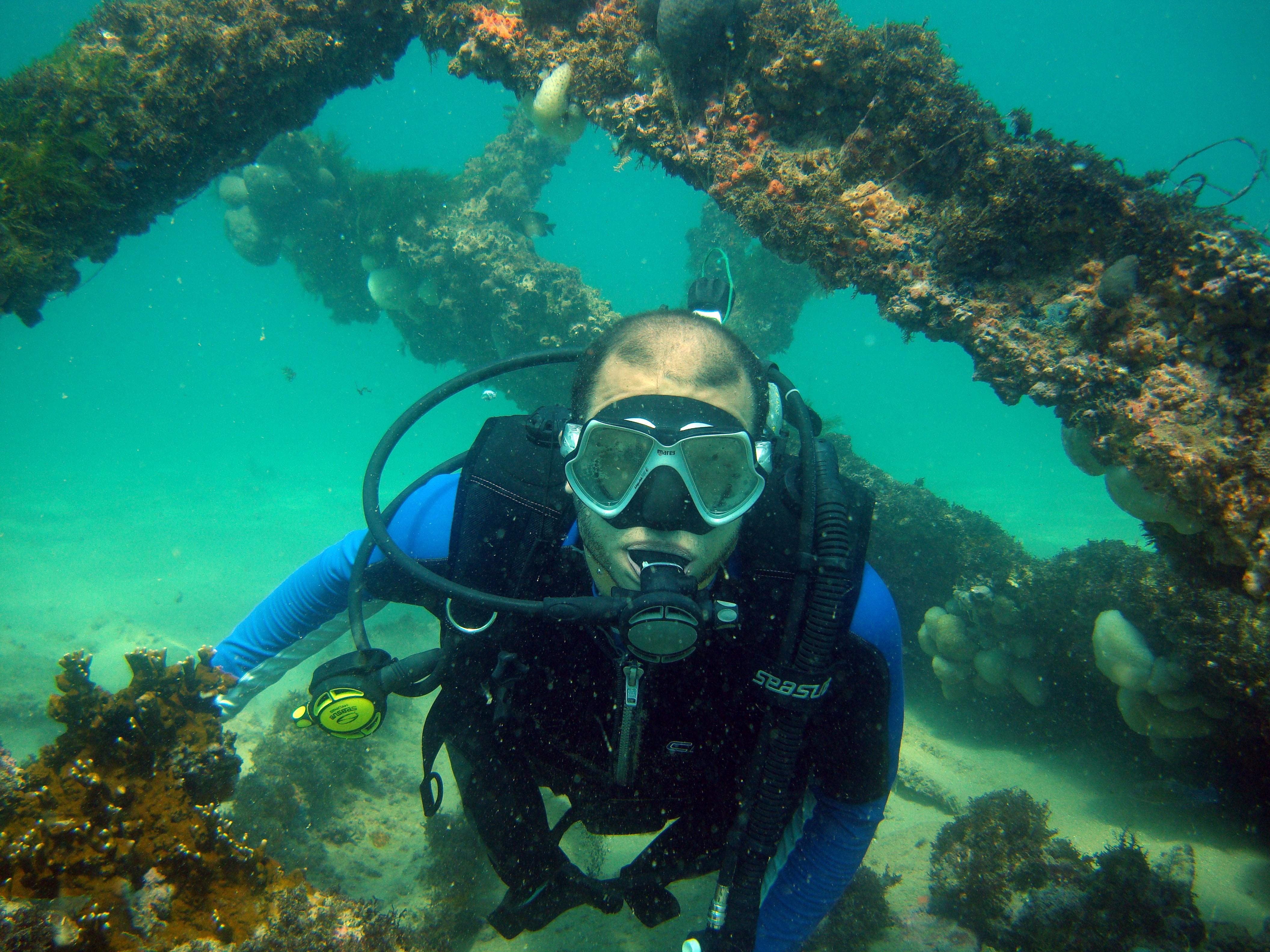 Mergulho entre restos de um dos navios que afundaram perto da praia: atração do parque marinho