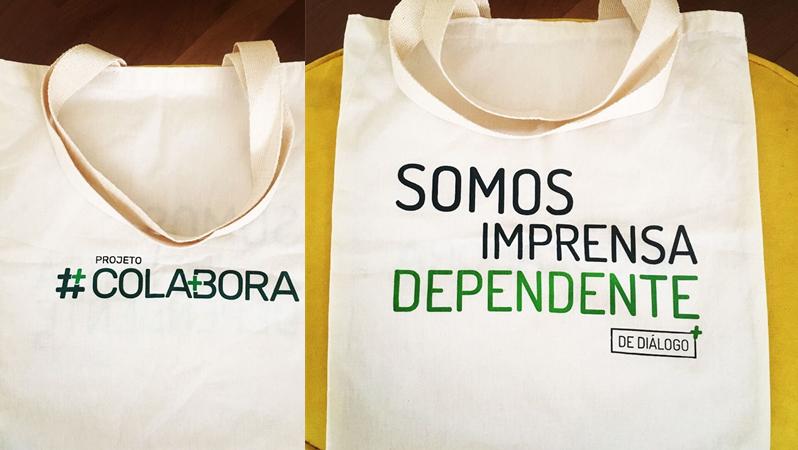 A ecobag do #Colabora é um dos brindes oferecidos para os colaboradores. Criação Alê Braga