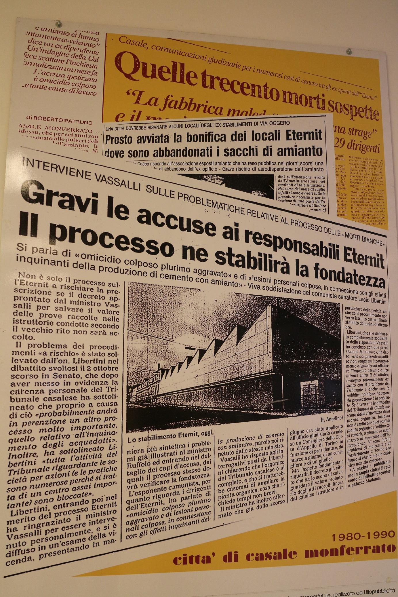 Alguns dos muitos processos contra a Eternit na Itália. Foto reprodução