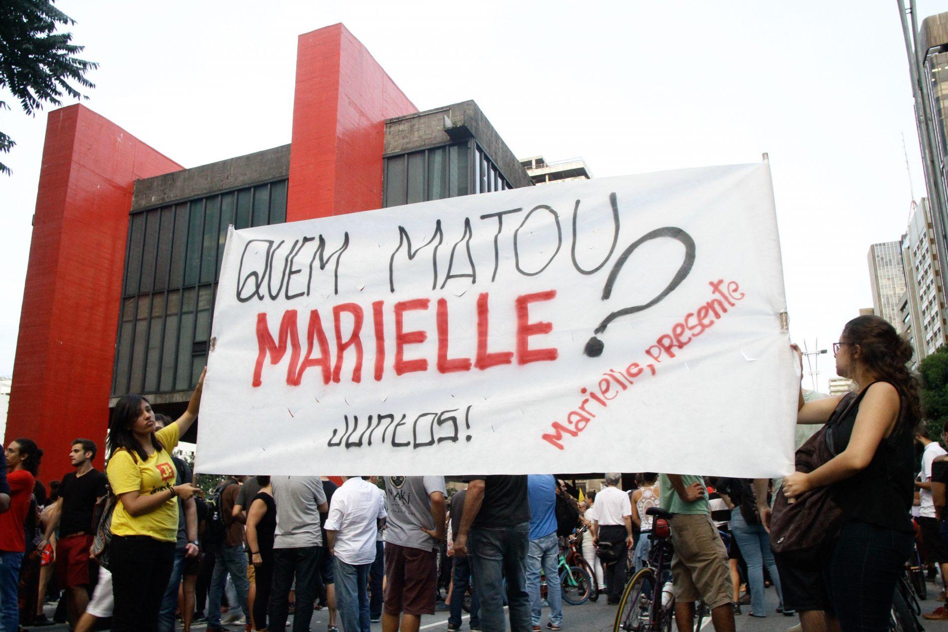 Protesto em São Paulo contra o assassinato de Marielle Franco e Anderson Gomes. Foto: FabioVieira/FotoRua/NurPhoto)