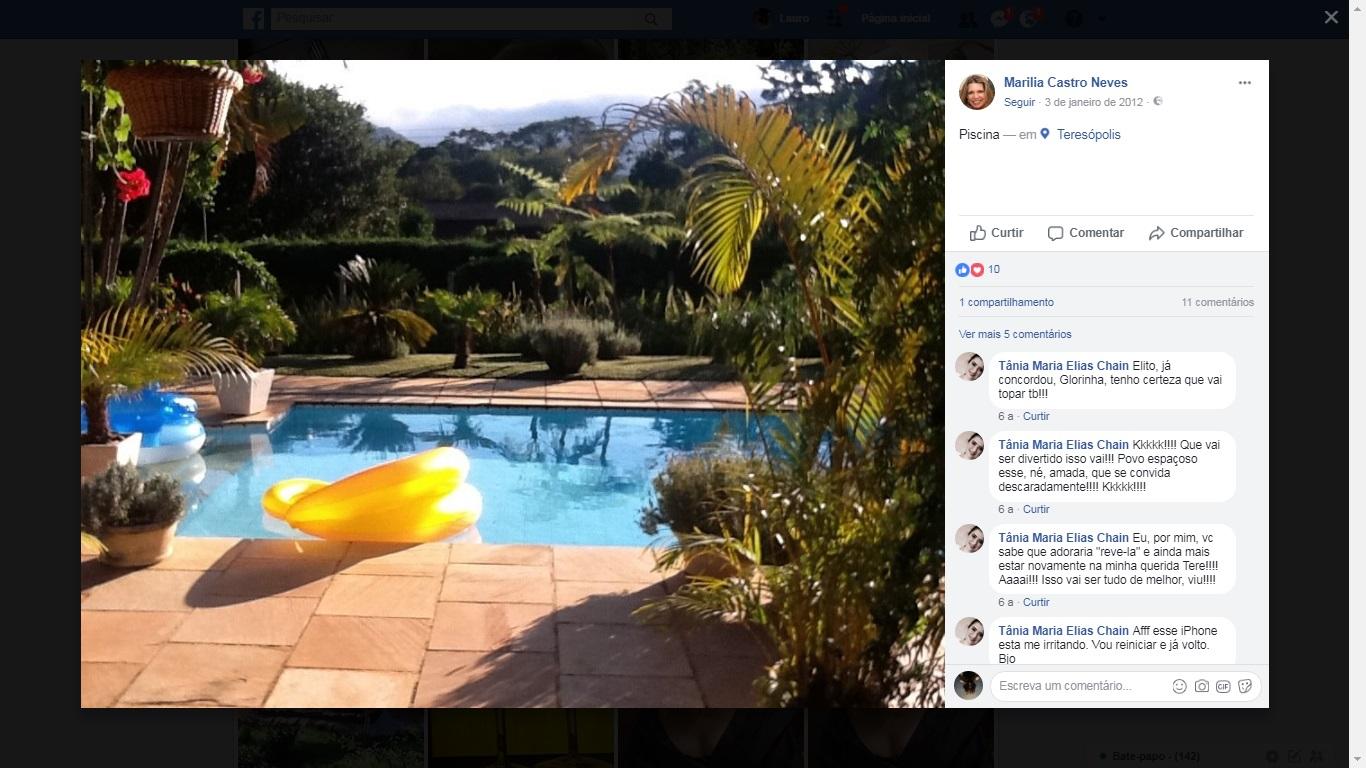 Piscina da casa de Teresópolis da desembargadora: ela se revolta com as acusações de privilégio do Judiciário (reprodução/Facebook)