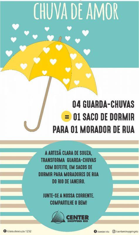 O cartaz da campanha de doação de guarda-chuvas usados. Foto Reprodução