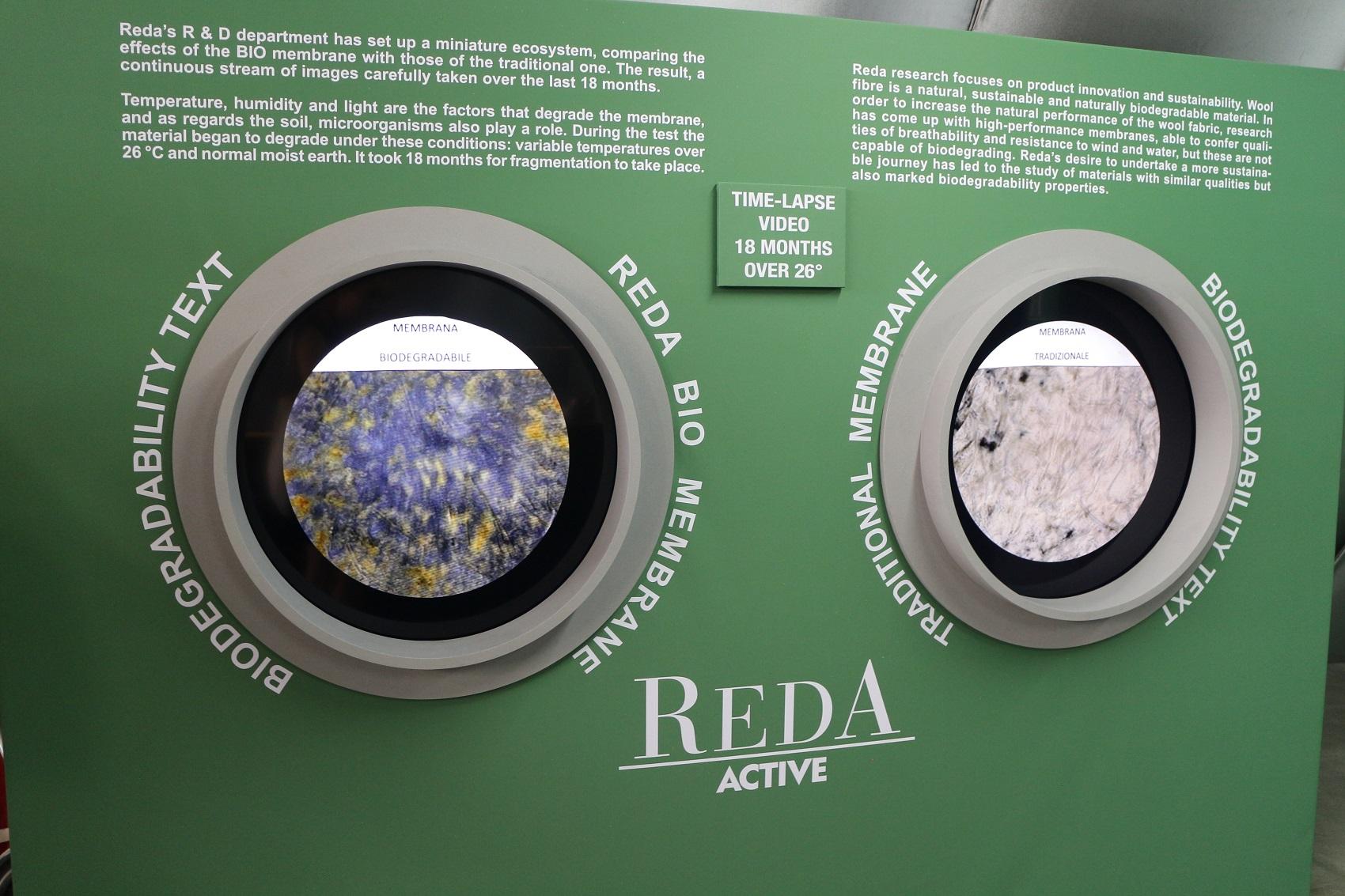A marca italiana Reda uniu o desejo de mesclar pesquisa tecnológica e sustentabilidade e criou uma membrana totalmente biodegradável (Foto: Janaina Cesar)