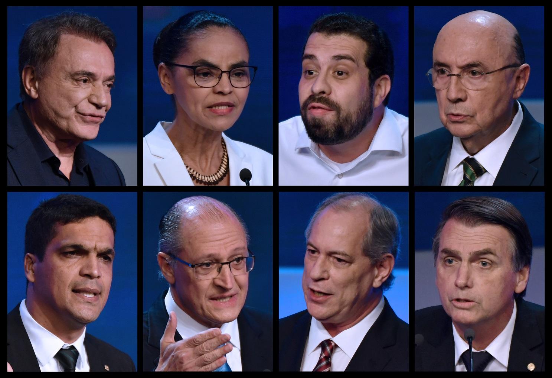 Composição com fotos dos oitos candidatos que participaram do debate da Band. Temas ambientais foram pouco discutidos. Foto Nelson Almeida/AFP
