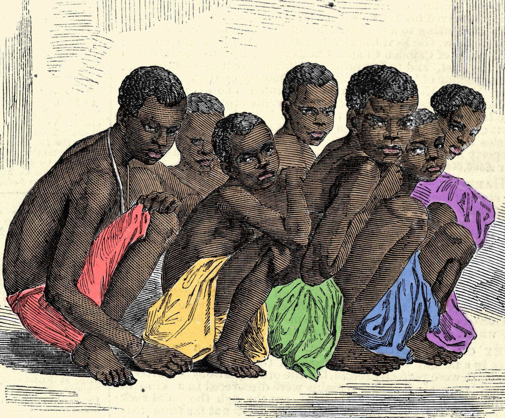Gravura do século XIX mostra a posição dos escravos nos navios negreiros. Reprodução Costa/Leemage/AFP