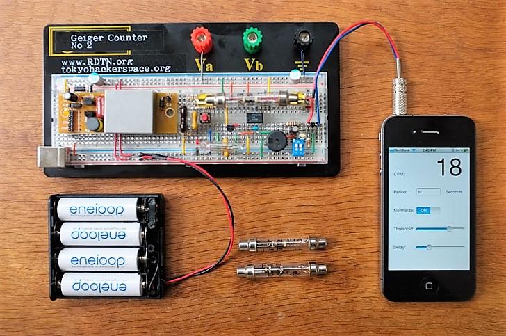 O Geiger, medidor japonês de radiação criado por membros do Tokyo Hackerspace: qualquer pessoa com alguma habilidade em eletrônica pode reproduzir em casa. Foto: Divulgação