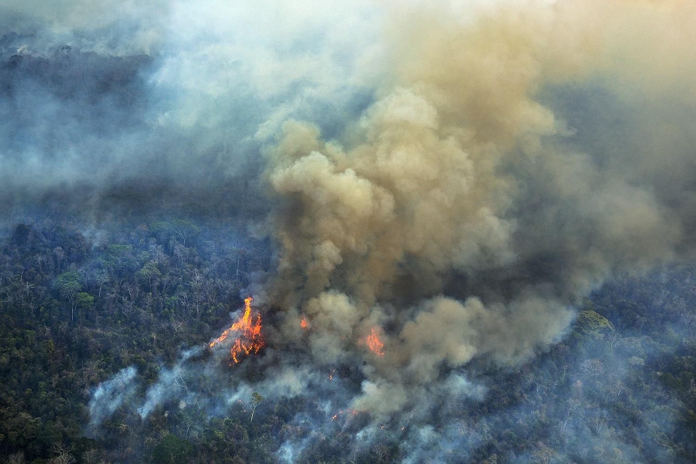 Imagens aéreas, feitas em 2015, mostram o incêndio florestal na Terra Indígena (TI) Arariboia, no Maranhão, onde vivem 12 mil Guajajaras e cerca de 80 indivíduos isolados do povo Awá-Guajá. Foto Marizilda Cruppe/Greenpeace.