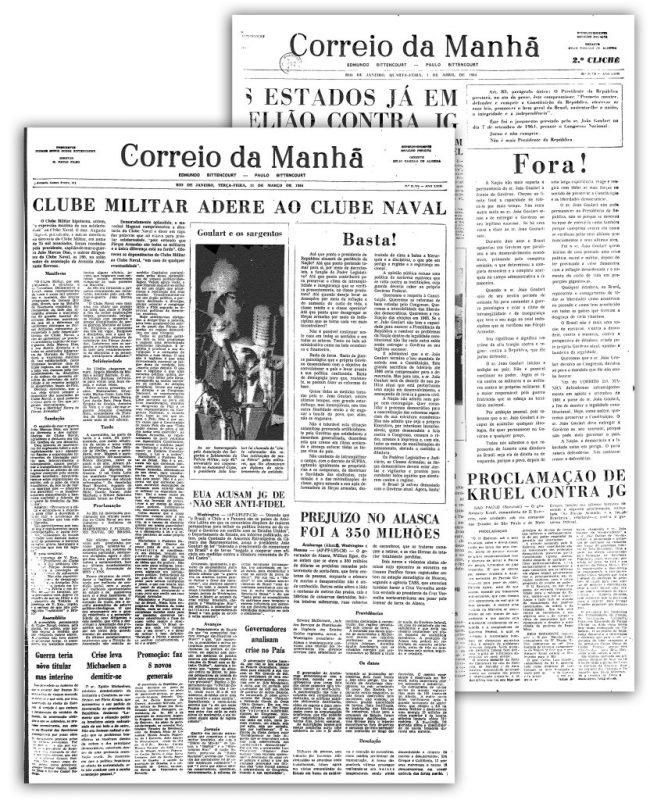 Os famosos editoriais do Correio: Basta! e Fora!, em 1964. Foto Reprodução