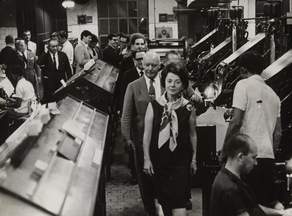Niomar Muniz Sodré recebe, em 1965, o Marechal Lott na gráfica do Correio da Manhã. Foto Arquivo Nacional