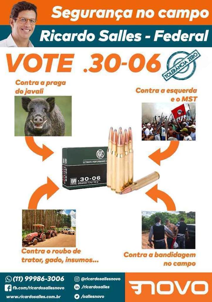 Material de campanha do então candidato a deputado federal Ricardo Salles. Reprodução Facebook