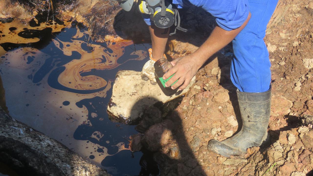 O óleo se concentrou nas margens do Rio Estrela (Foto ICMBio)