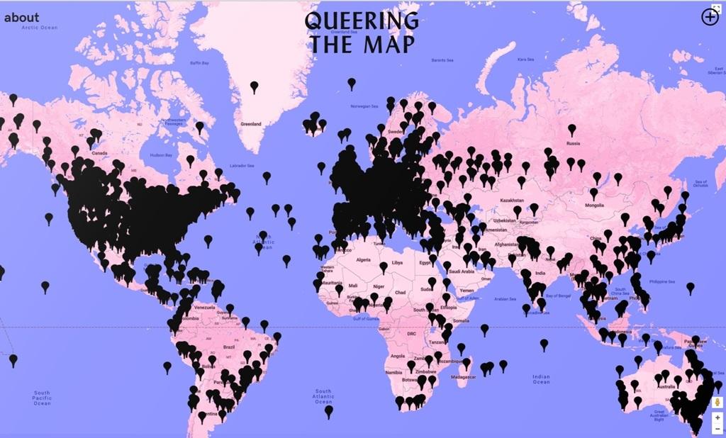 """O """"Queering the map"""" entra em 2019 com sua superfície tomada por manchas pretas, tantos são os pins acumulados em várias partes do mundo. Foto Reprodução"""