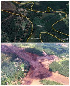 Antes e depois do rompimento da barragem na região de Brumadinho (Foto: Reprodução Facebook / Águas Do Paraopeba)