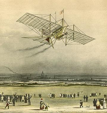 """Em 1842, antes mesmo do surgimento do primeiro avião, um inventor de teares inglês chamado William Henson requereu a primeira patente de uma """"carruagem aérea"""". Reprodução"""