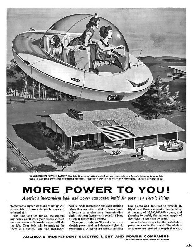 Anúncio futurista dos anos 50. Reprodução